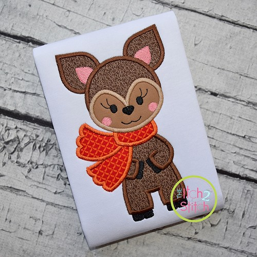 Deer with Scarf Girl Applique