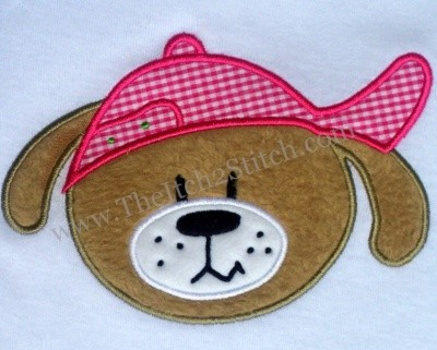 Dog Face with Hat Applique