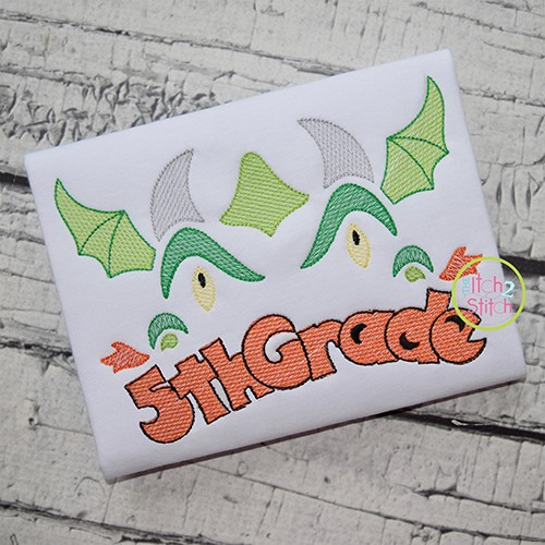 Dragon Face 5th Grade Sketch Embroidery