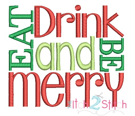 Eat Drink and Be Merry Embroidery Design