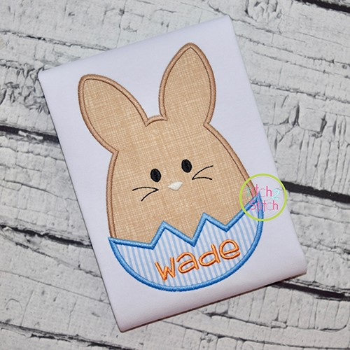 Egg Shaped Bunny Boy Applique