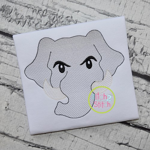 Elephant Face Boy Sketch Embroidery
