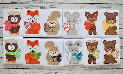 Fall Animals with Scarf Applique Design Set