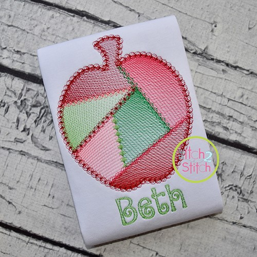 Fancy Patchwork Apple Sketch Embroidery