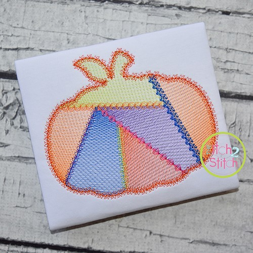Fancy Patchwork Pumpkin Sketch Embroidery