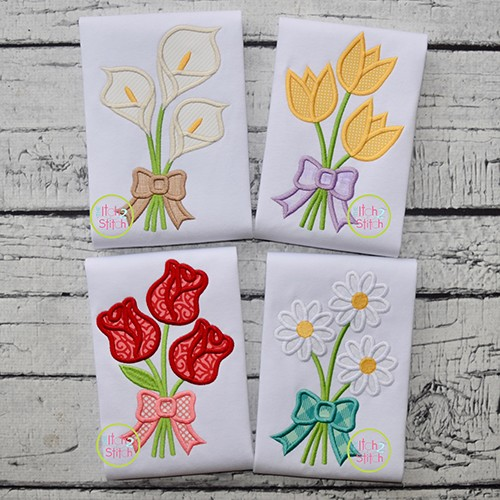 Flower Bouquet Applique Design Set