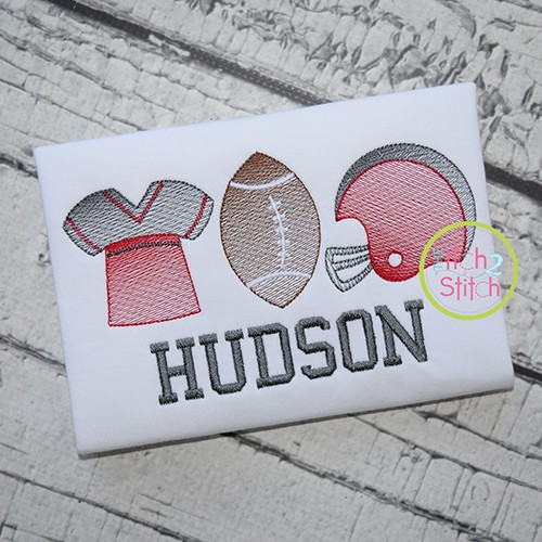 Football Trio Sketch Embroidery