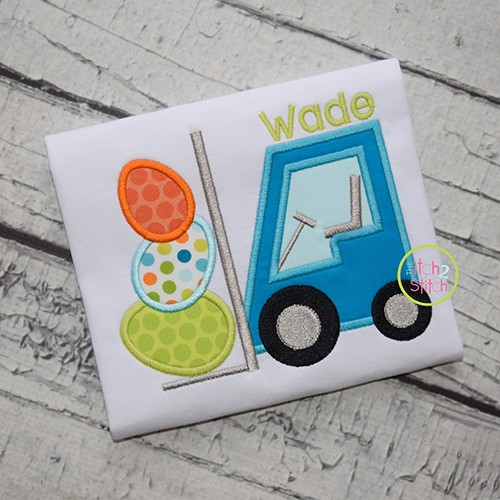 Forklift Easter Eggs Applique