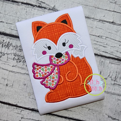Fox with Scarf Girl Applique