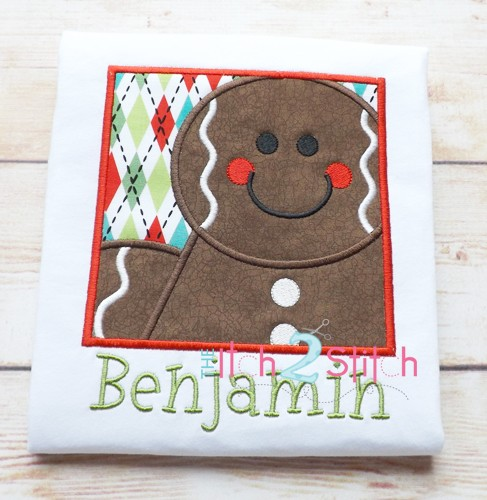 Gingerbread Box Boy Applique
