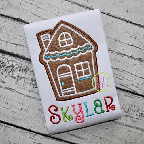 Gingerbread Cookie House Applique