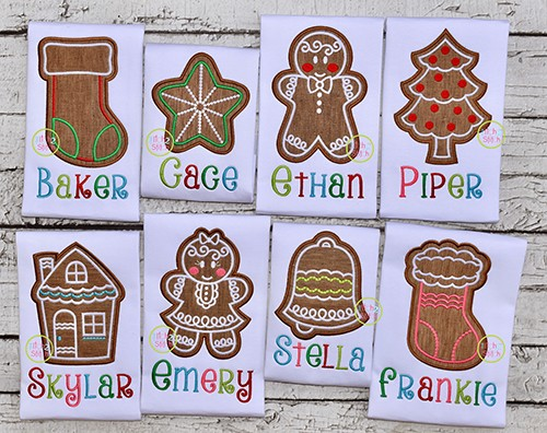 Gingerbread Cookie Applique Design Set
