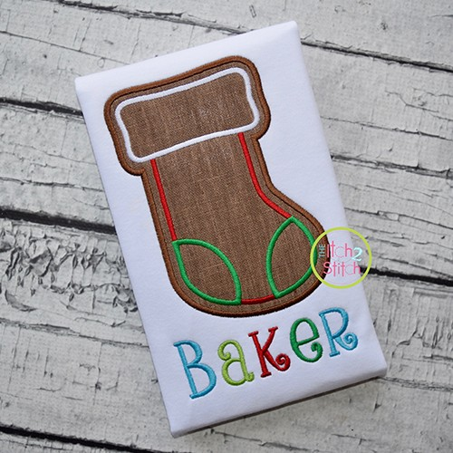 Gingerbread Cookie Stocking Applique
