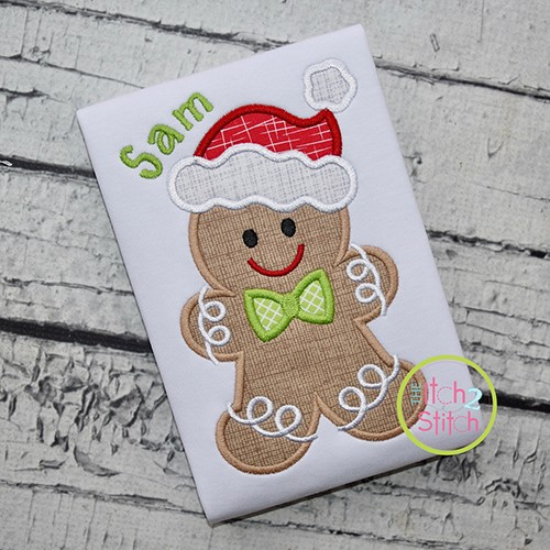 Gingerbread Santa Hat Boy Applique