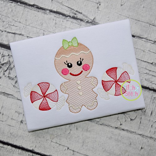 Gingerbread Trio Girl Sketch Embroidery