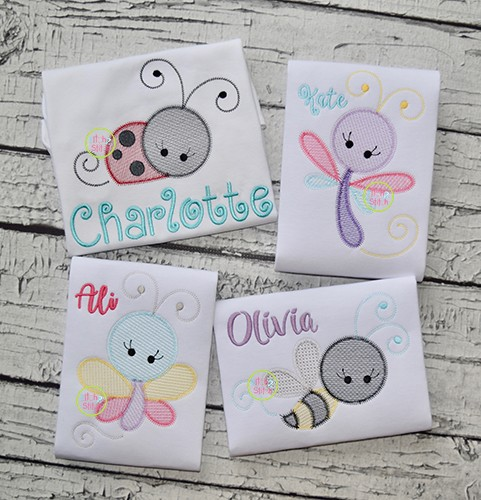 Girly Bugs Sketch Embroidery Set