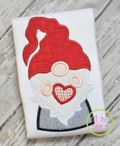Gnome Holding Heart Boy Applique Design