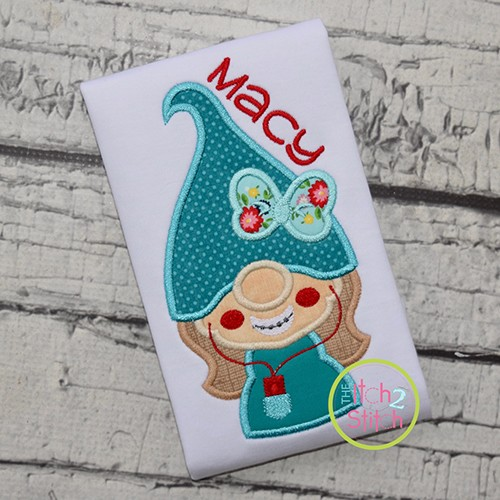 Gnome Teen Girl Applique Design