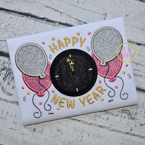 Happy New Year Clock Applique