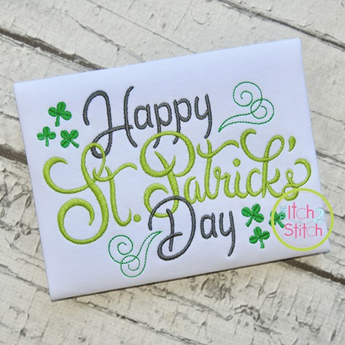 Happy St Patrick's Day Embroidery Design