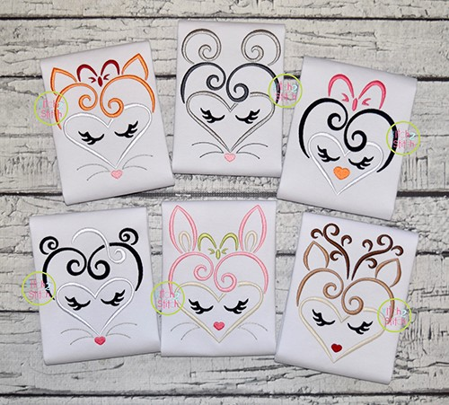 Heart Animal Faces Embroidery Design Set