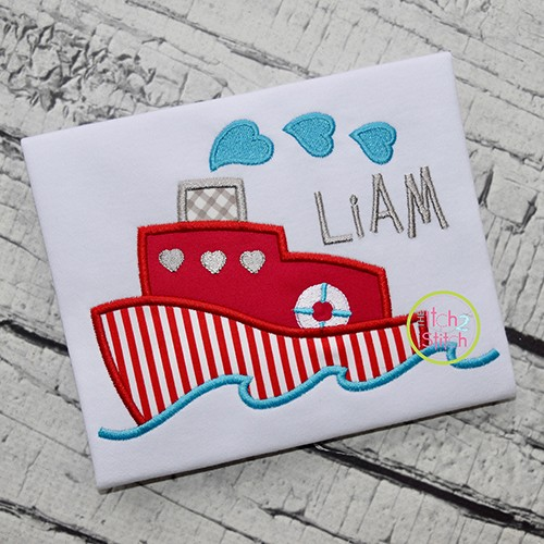Heart Boat Applique