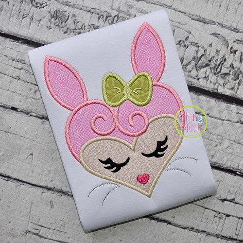 Heart Bunny Face Applique