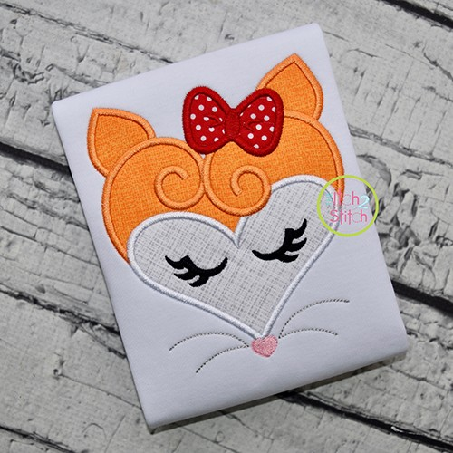 Heart Fox Face Applique