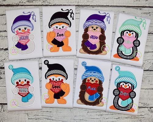 Winter Critters Holding Hearts Applique Design Set