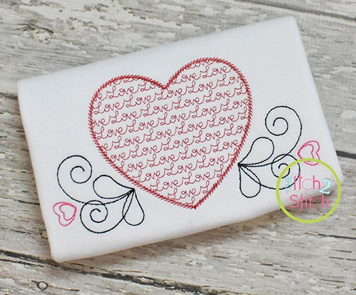 Heart Love Motif Embroidery Design
