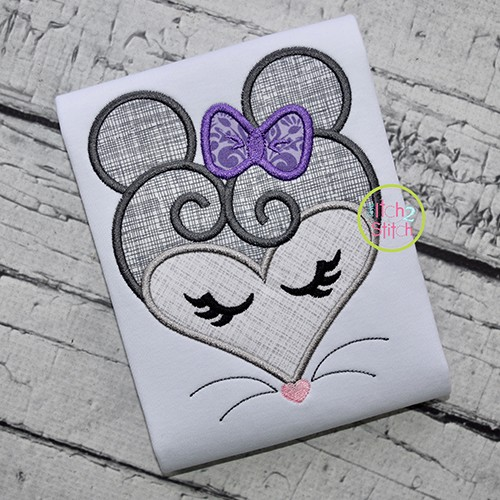Heart Mouse Face Applique