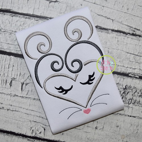 Heart Mouse Face Embroidery