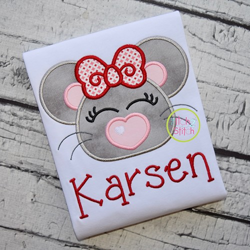 Heart Nose Mouse Girl Applique