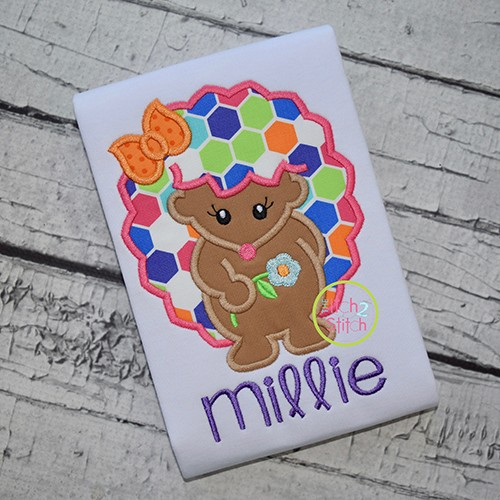 Hedgehog Girl Flower Applique