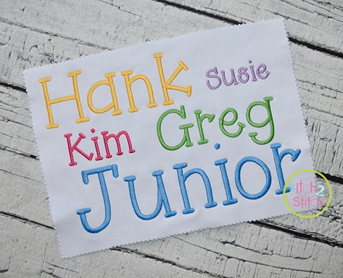 Junior Embroidery Font