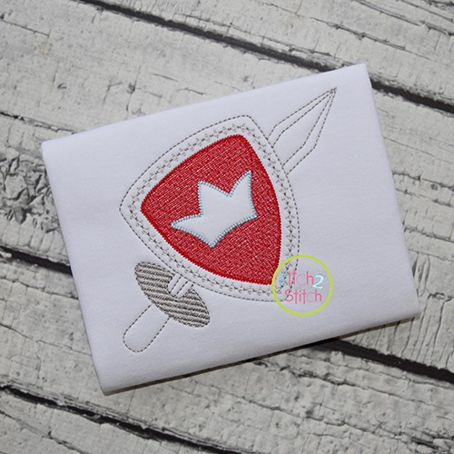Knight Shield and Sword Embroidery