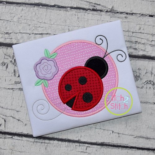 Ladybug Circle Applique Design