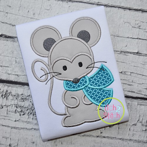 Mouse with Scarf Boy Applique