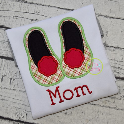Mrs Claus Slippers Applique