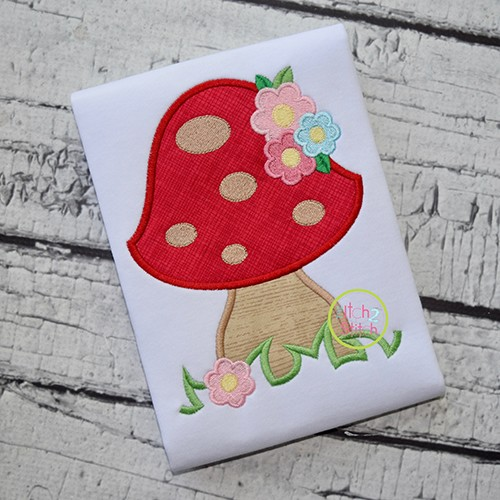 Mushroom with Flowers Applique