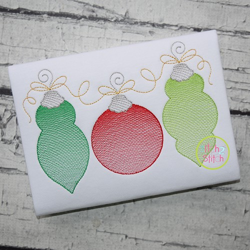 Ornament Trio Sketch Embroidery