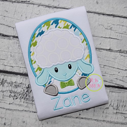 Oval Lamb Boy Applique