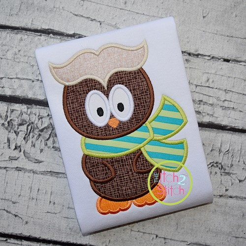 Owl with Scarf Boy Applique