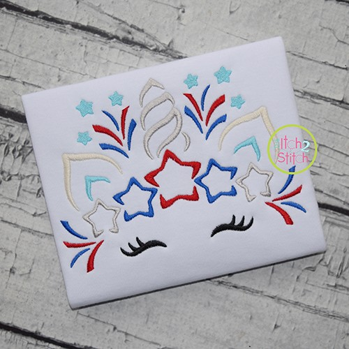 Patriotic Unicorn Horn Embroidery