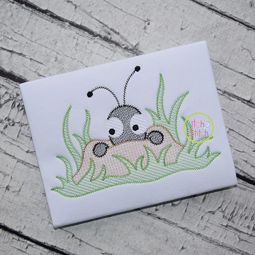 Peeking Ant Sketch Embroidery