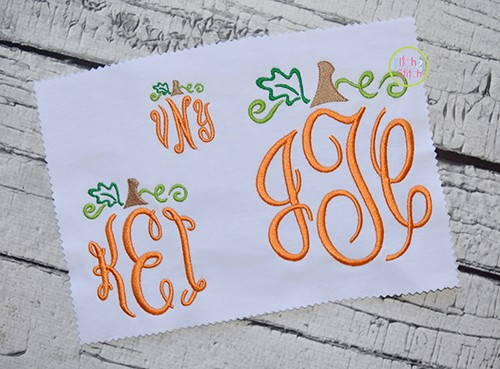 Pumpkin Monogram Topper Satin Embroidery