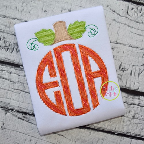 Pumpkin Monogram Topper ZigZag Applique