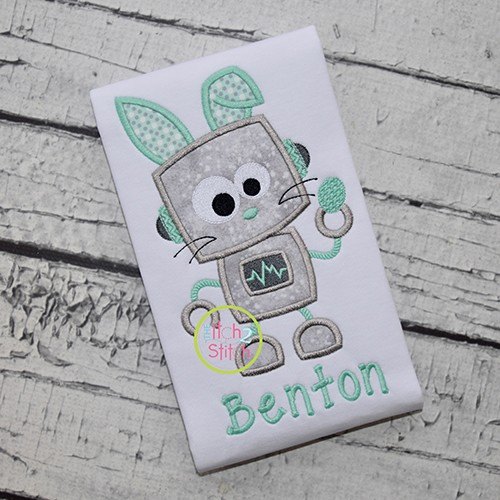 Robot Bunny Boy Applique