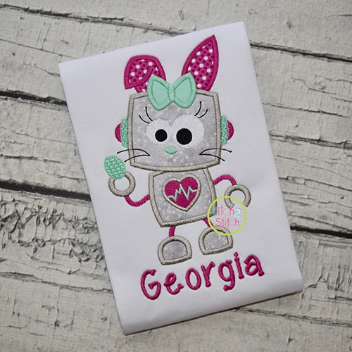 Robot Bunny Girl Applique