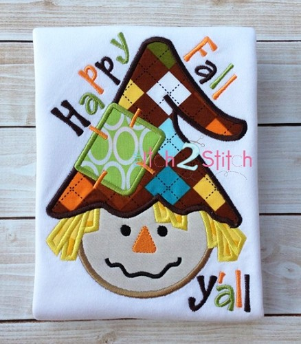 Scarecrow Boy Happy Fall Y'all Applique
